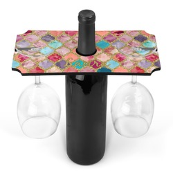 Glitter Moroccan Watercolor Wine Bottle & Glass Holder (Personalized)
