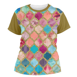 Glitter Moroccan Watercolor Women's Crew T-Shirt (Personalized)