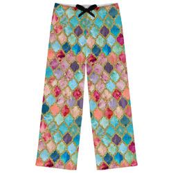 Glitter Moroccan Watercolor Womens Pajama Pants (Personalized)