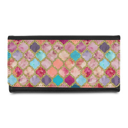 Glitter Moroccan Watercolor Leatherette Ladies Wallet