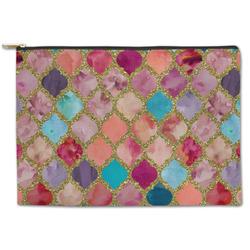 Glitter Moroccan Watercolor Zipper Pouch
