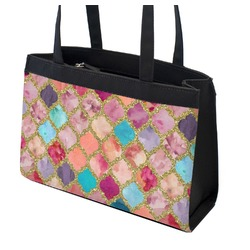Glitter Moroccan Watercolor Zippered Everyday Tote (Personalized)