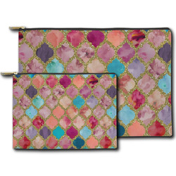 Glitter Moroccan Watercolor Zipper Pouch