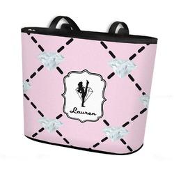 Diamond Dancers Bucket Tote w/ Genuine Leather Trim (Personalized)