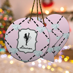 Diamond Dancers Ceramic Ornament - Double Sided w/ Name or Text