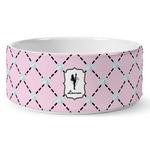 Diamond Dancers Ceramic Dog Bowl (Personalized)