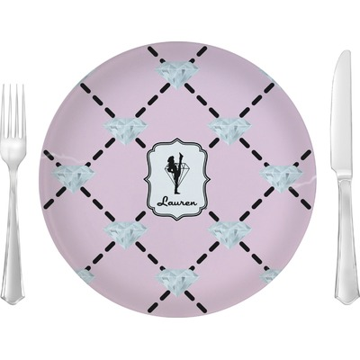 "Diamond Dancers 10"" Glass Lunch / Dinner Plates - Single or Set (Personalized)"