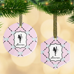 Diamond Dancers Flat Glass Ornament w/ Name or Text