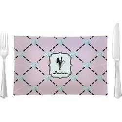 Diamond Dancers Rectangular Glass Lunch / Dinner Plate - Single or Set (Personalized)