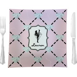"""Diamond Dancers 9.5"""" Glass Square Lunch / Dinner Plate- Single or Set of 4 (Personalized)"""