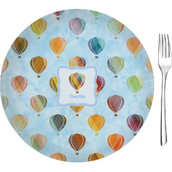 """Watercolor Hot Air Balloons Glass Appetizer / Dessert Plate 8"""" (Personalized)"""