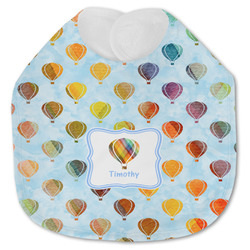 Watercolor Hot Air Balloons Jersey Knit Baby Bib w/ Name or Text