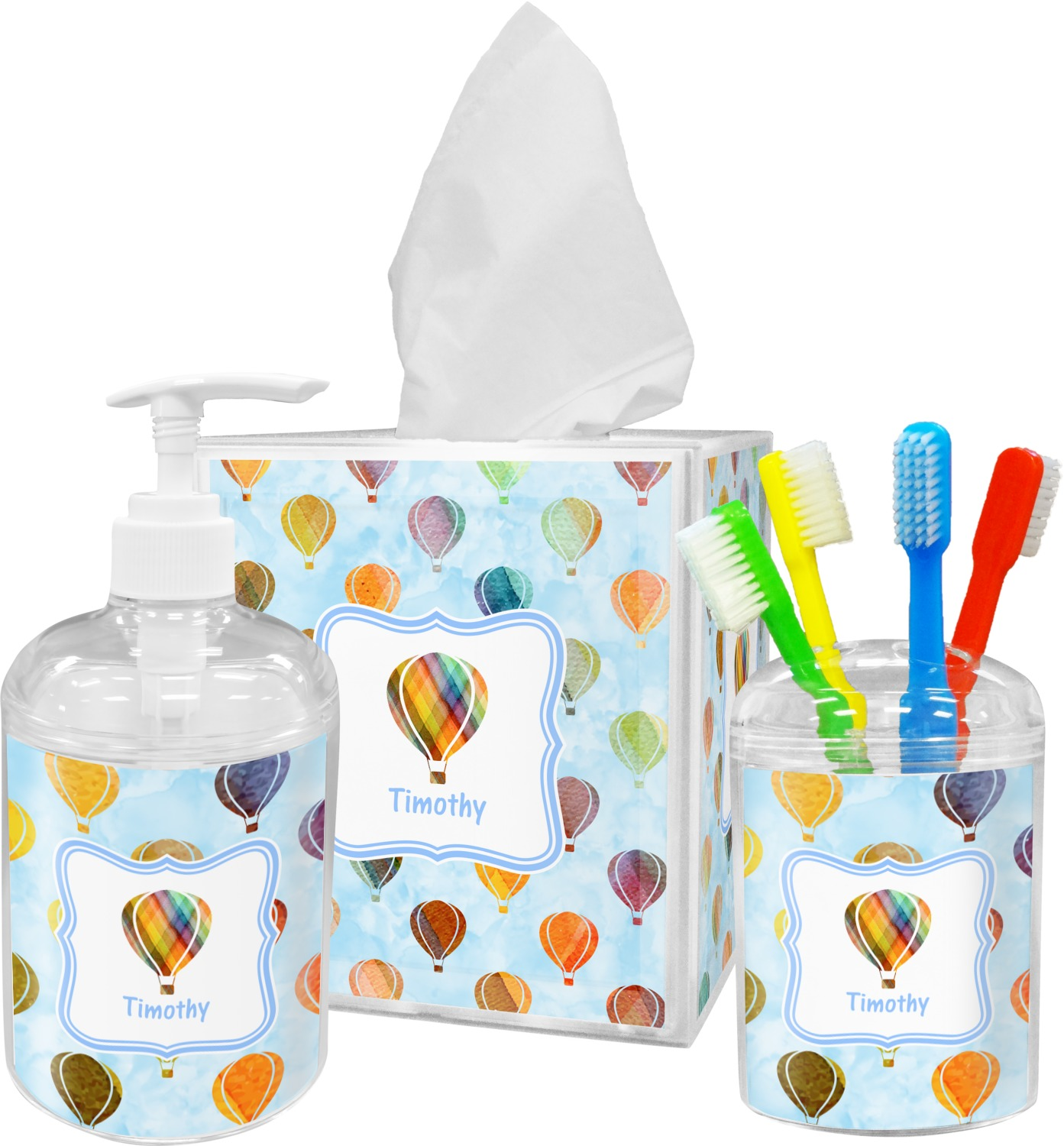 Genial Watercolor Hot Air Balloons Bathroom Accessories Set (Personalized)