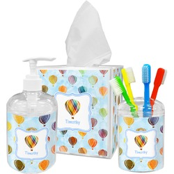 Watercolor Hot Air Balloons Bathroom Accessories Set (Personalized)