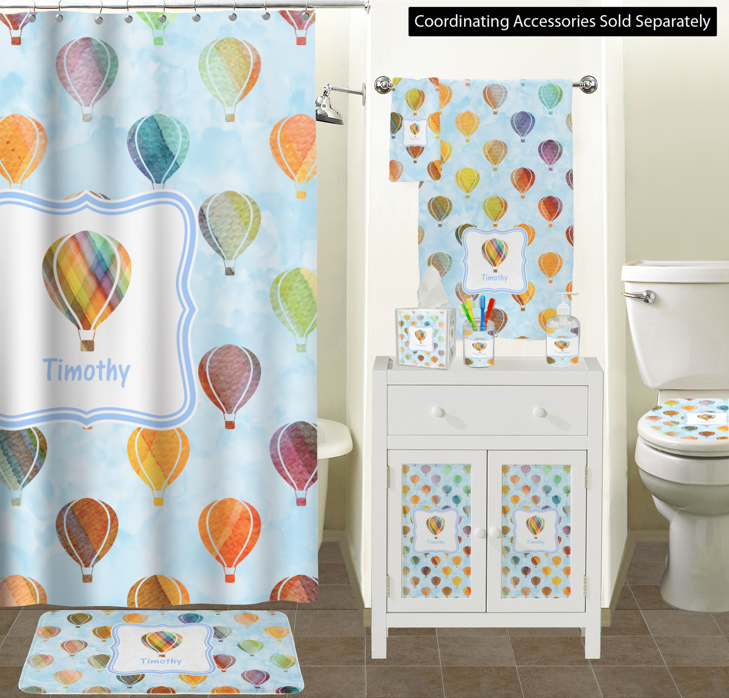 Watercolor Hot Air Balloons Bathroom Accessories Set Personalized
