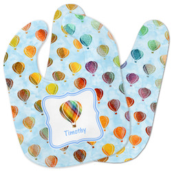 Watercolor Hot Air Balloons Baby Bib w/ Name or Text