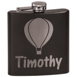 Watercolor Hot Air Balloons Black Flask (Personalized)