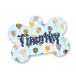 Watercolor Hot Air Balloons Bone Shaped Dog Tag (Personalized)