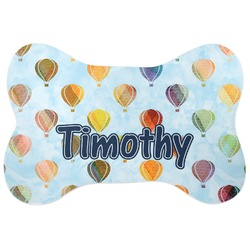 Watercolor Hot Air Balloons Bone Shaped Dog Food Mat (Personalized)
