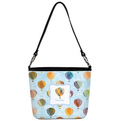 Watercolor Hot Air Balloons Bucket Bag w/ Genuine Leather Trim (Personalized)