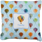 Watercolor Hot Air Balloons Faux-Linen Throw Pillow (Personalized)