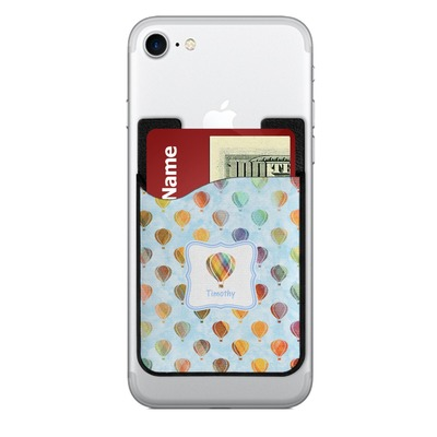 Watercolor Hot Air Balloons 2-in-1 Cell Phone Credit Card Holder & Screen Cleaner (Personalized)