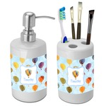 Watercolor Hot Air Balloons Bathroom Accessories Set (Ceramic) (Personalized)