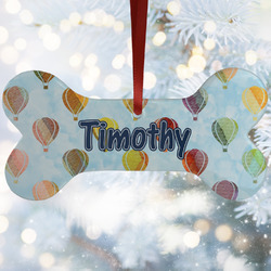 Watercolor Hot Air Balloons Ceramic Dog Ornaments w/ Name or Text
