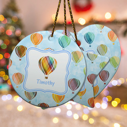 Watercolor Hot Air Balloons Ceramic Ornament - Double Sided w/ Name or Text
