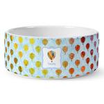 Watercolor Hot Air Balloons Ceramic Pet Bowl (Personalized)