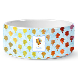 Watercolor Hot Air Balloons Ceramic Pet Bowl (Personalized)
