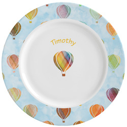 Watercolor Hot Air Balloons Ceramic Dinner Plates (Set of 4) (Personalized)