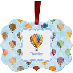 Watercolor Hot Air Balloons Metal Frame Ornament - Double Sided w/ Name or Text
