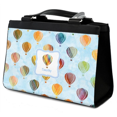Watercolor Hot Air Balloons Classic Tote Purse w/ Leather Trim w/ Name or Text