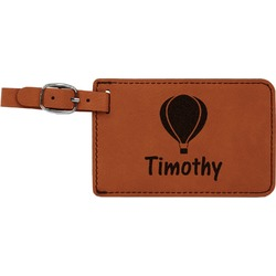 Watercolor Hot Air Balloons Leatherette Luggage Tag (Personalized)