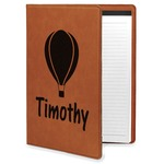 Watercolor Hot Air Balloons Leatherette Portfolio with Notepad (Personalized)