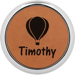 Watercolor Hot Air Balloons Leatherette Round Coaster w/ Silver Edge - Single or Set (Personalized)