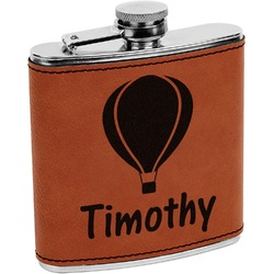 Watercolor Hot Air Balloons Leatherette Wrapped Stainless Steel Flask (Personalized)
