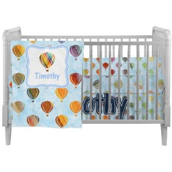 Watercolor Hot Air Balloons Crib Comforter / Quilt (Personalized)