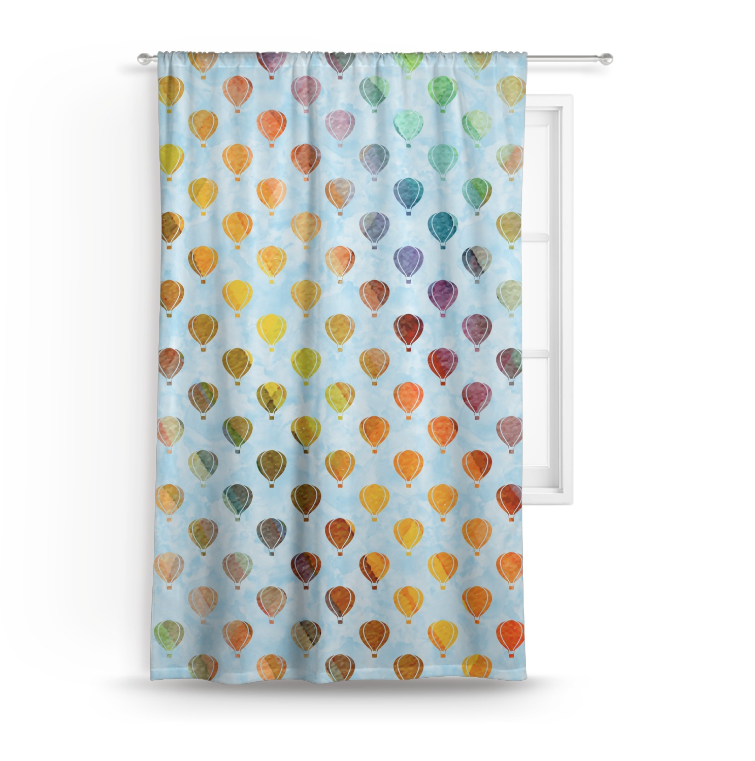 Watercolor Hot Air Balloons Curtain Personalized