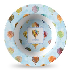 Watercolor Hot Air Balloons Plastic Bowl - Microwave Safe - Composite Polymer (Personalized)
