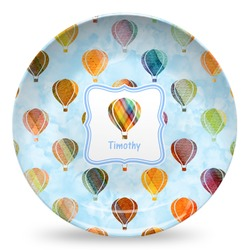 Watercolor Hot Air Balloons Microwave Safe Plastic Plate - Composite Polymer (Personalized)