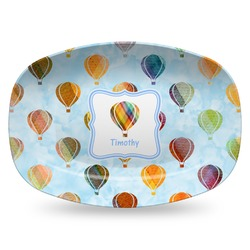 Watercolor Hot Air Balloons Plastic Platter - Microwave & Oven Safe Composite Polymer (Personalized)
