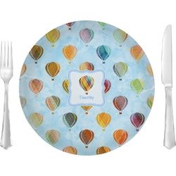 "Watercolor Hot Air Balloons Glass Lunch / Dinner Plates 10"" - Single or Set (Personalized)"