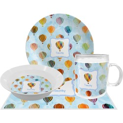Watercolor Hot Air Balloons Dinner Set - 4 Pc (Personalized)