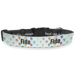 Watercolor Hot Air Balloons Deluxe Dog Collar (Personalized)