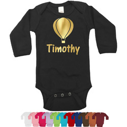 Watercolor Hot Air Balloons Foil Bodysuit - Long Sleeves - Gold, Silver or Rose Gold (Personalized)