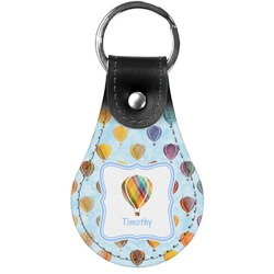 Watercolor Hot Air Balloons Genuine Leather  Keychain (Personalized)
