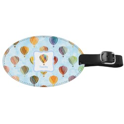 Watercolor Hot Air Balloons Genuine Leather Oval Luggage Tag (Personalized)