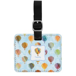 Watercolor Hot Air Balloons Genuine Leather Rectangular  Luggage Tag (Personalized)